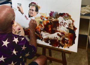 Famous alabama football coaches oil artwork in progress by sports artist christiaan bekker