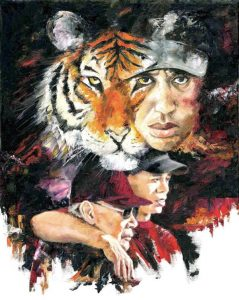 tiger woods painting and a real tiger art