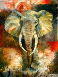 sports wildlife artist african elephant painting