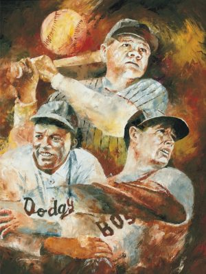 babe ruth ted williams jackie robinson aer drawing