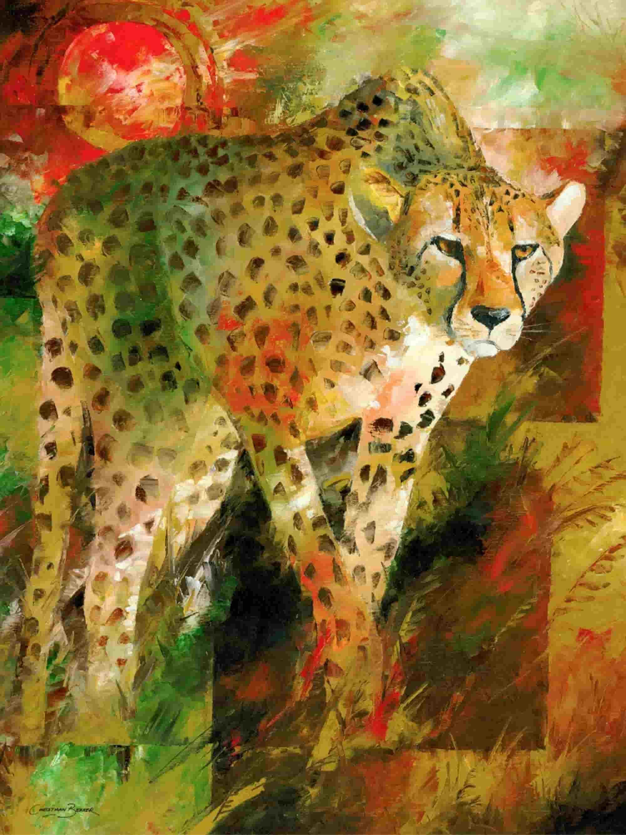 Cheetah hunt painting