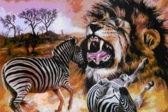 Lion hunt Zebra painting