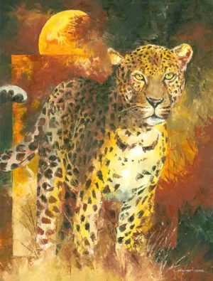 Leopard painting prints sketch