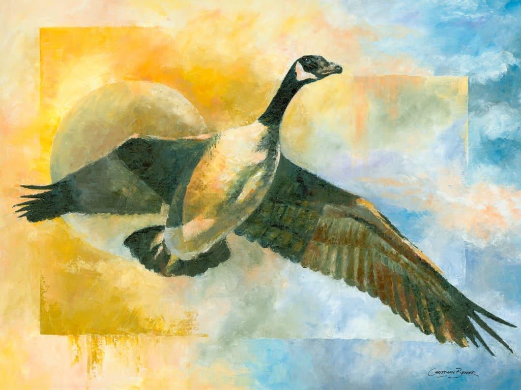 Flying Canadian Geese Paintings Wildlife Artist