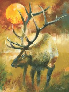 elk art prints painting for sale