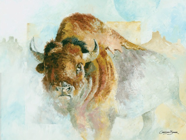 Bison Art Prints for sale by Wildlife Artist Christiaan Bekker